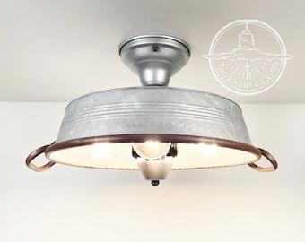 Flat Rustic Tub Ceiling Light Galvanized Metal Semi Flush- Lighting Fixture Farmhouse Chandelier Kitchen Edison Bulb Lamp Goods