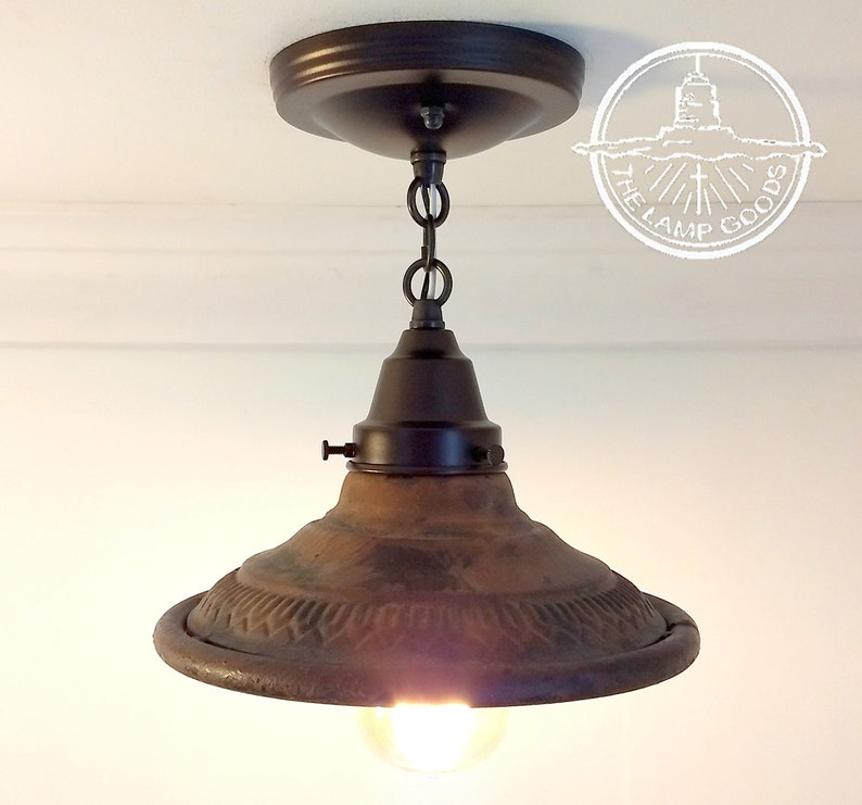 size 40 d0ac8 b90aa Rustic INDUSTRIAL Flush Mount Ceiling Lighting Farmhouse Kitchen Glass  Island LampGoods