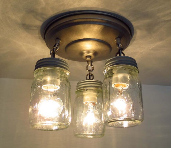 Canning Jar New Pint Ceiling Light Trio Mason Jar Chandelier Lighting Farmhouse Flush Mount Fixture Track Fan Pendant Lamp Rustic Glass