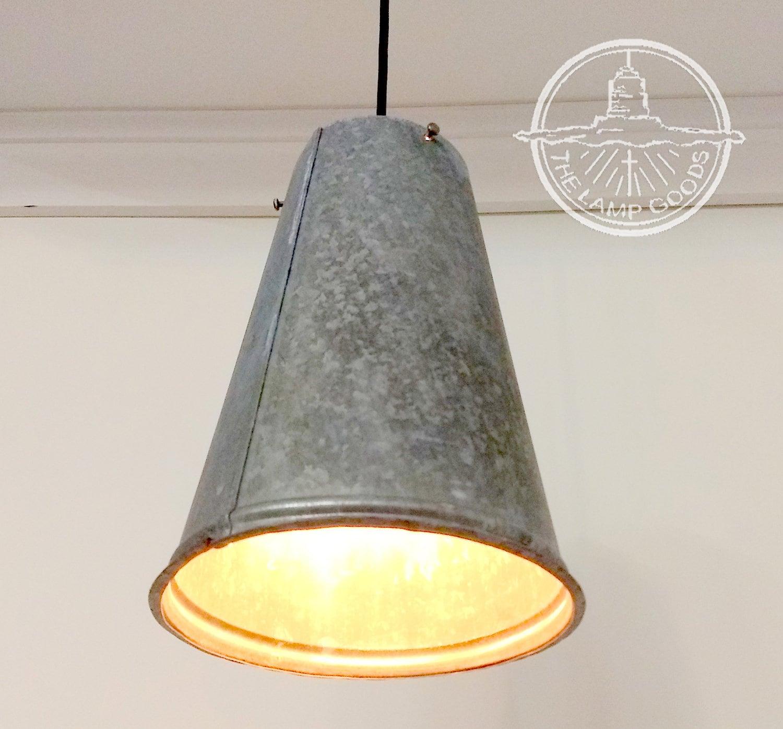 Farmhouse Galvanized Metal Funnel PENDANT Light Chandelier   Etsy