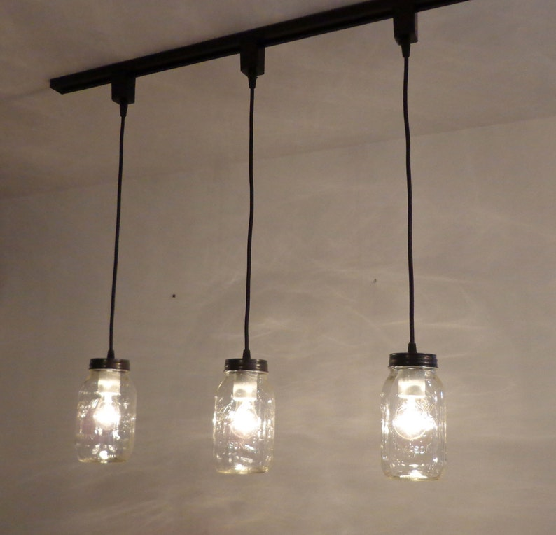 Flush Mount Farmhouse Ceiling Light Chandelier Remodel Kitchen Island Lamp LampGoods Mason Jar TRACK LIGHTING Pendant SINGLE New Quart