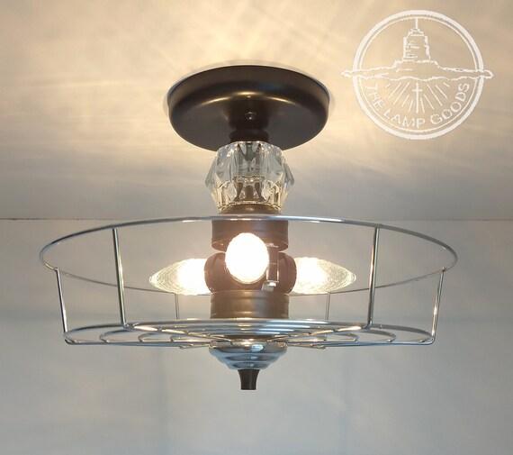 Vintage Flush Mount INDUSTRIAL Crystal Bling Ceiling Light