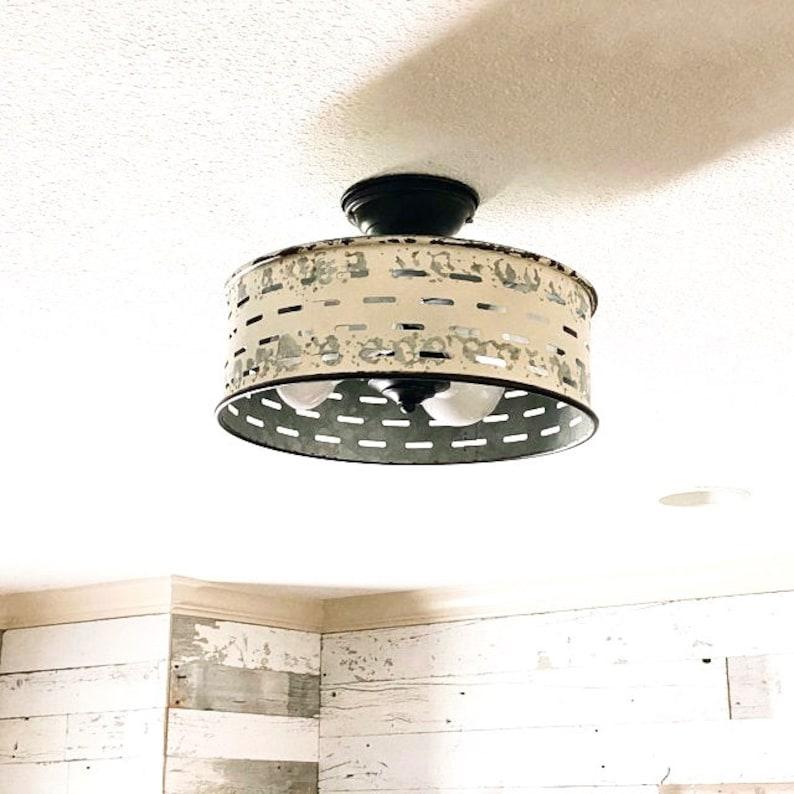Rustic Flush Mount Galvanized Ceiling Light Chippy White Etsy