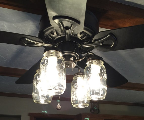 Mason Jar Ceiling Fan Light Kit Only With New Quarts Rustic Etsy