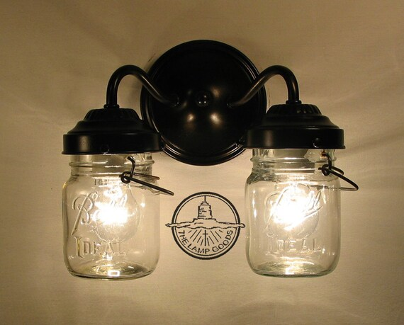 Vintage Clear Canning Jar Double Sconce Light Wall Mount Etsy