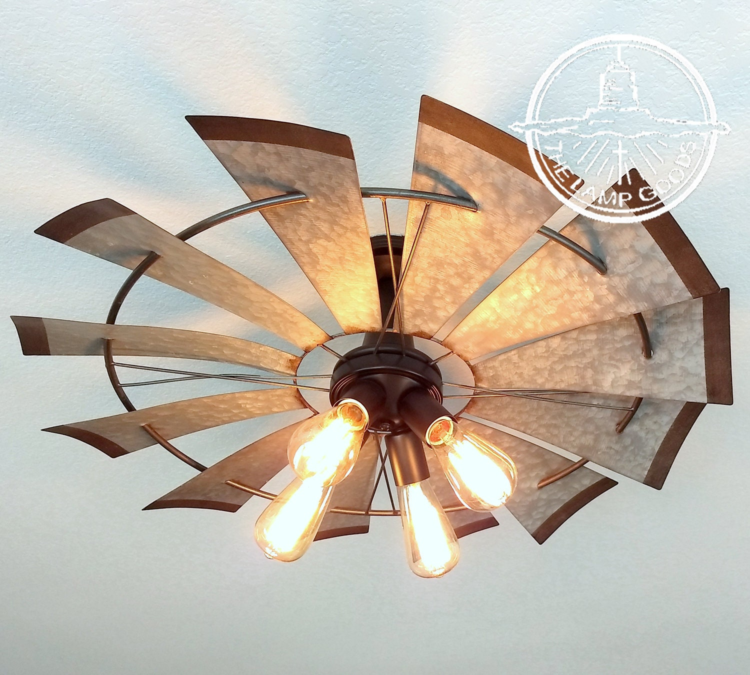 Windmill farmhouse flush mount light fixture original exclusive by lampgoods ceiling kitchen island vintage industrial shown wedison bulbs