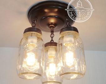 Flush Mount Ceiling Light MASON JAR LIGHT New Quart Trio - Fan Fixture Rustic Farmhouse Pendant Glass Chandelier Lighting Track LampGoods
