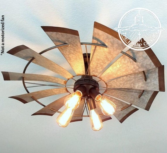 Windmill Farmhouse Flush Mount Light Fixture Original Etsy