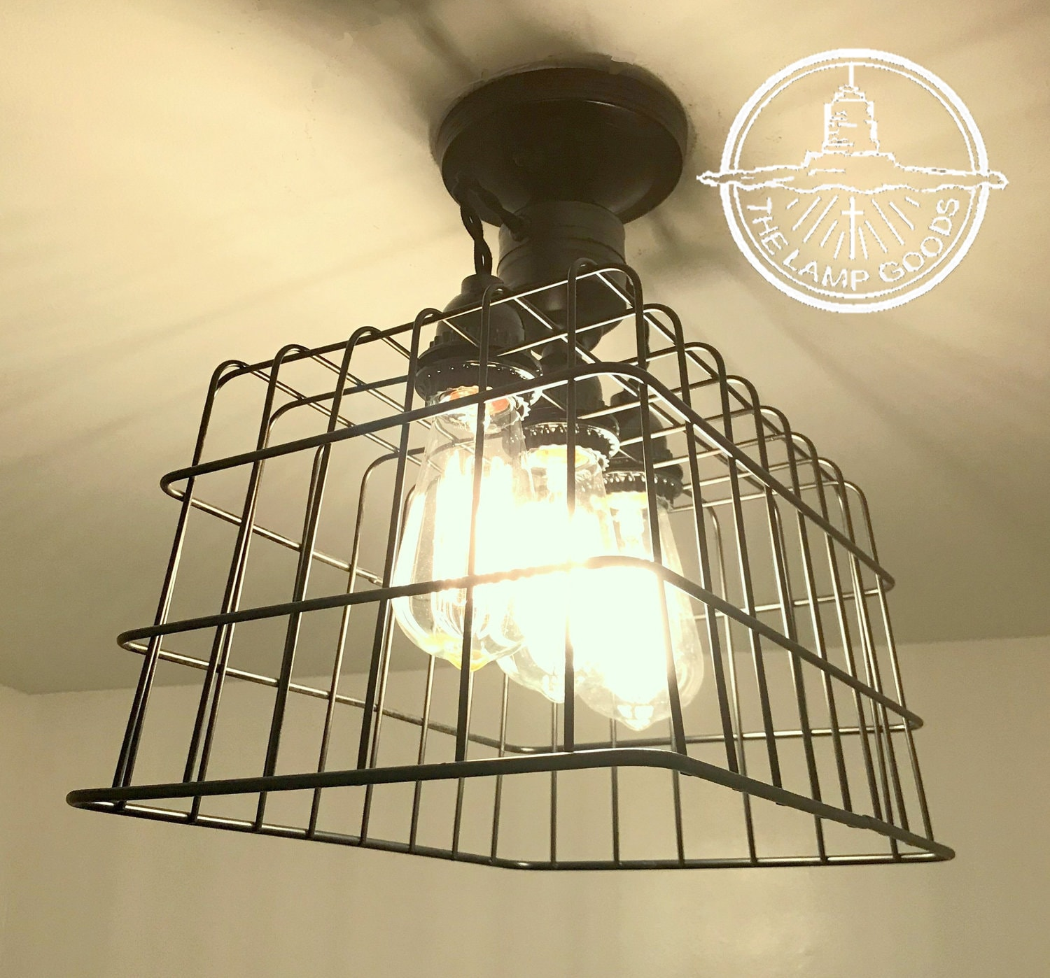 Flush mount ceiling light basket with edison bulbs lighting fixture farmhouse chandelier kitchen edison bulb lamp goods