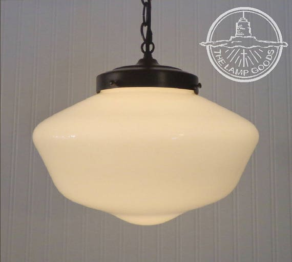 Machias. LARGE Replica Schoolhouse PENDANT LIGHT Fixture with Chain -  Chandelier Ceiling Lighting Farmhouse Kitchen Glass Island LampGoods