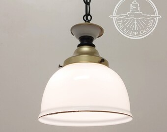 Traditional Milk Glass Pendant Light with Brass and Black Accents- Farmhouse Chandelier Lighting Fixture Ceiling Mount Kitchen Lamp Goods