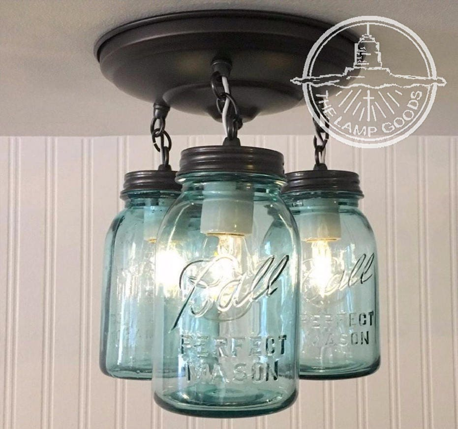 Blue Mason Jar Ceiling Lighting Fixture Vintage BALL Trio