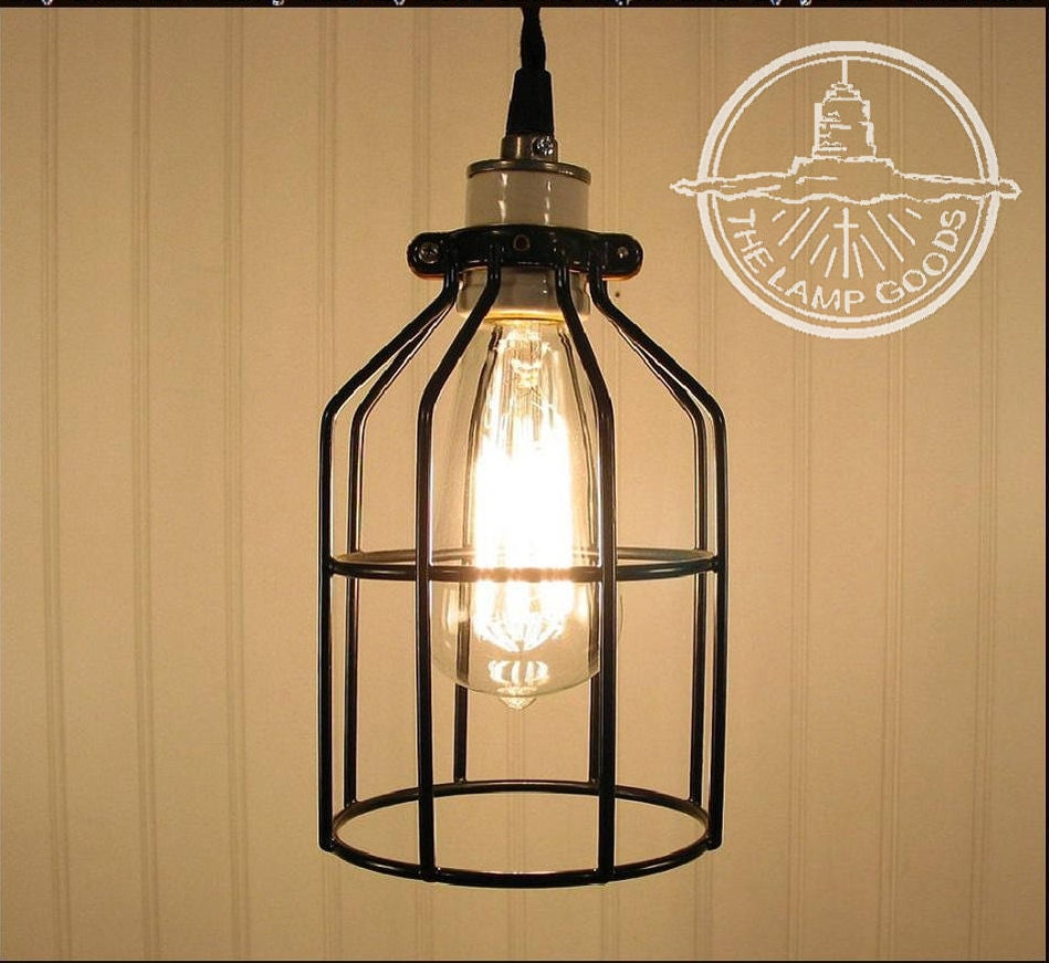 Just Reduced Rustic Handmade 3 Bulb Hanging Light Fixture Or: Industrial Cage PENDANT Light With Edison Bulb Rustic