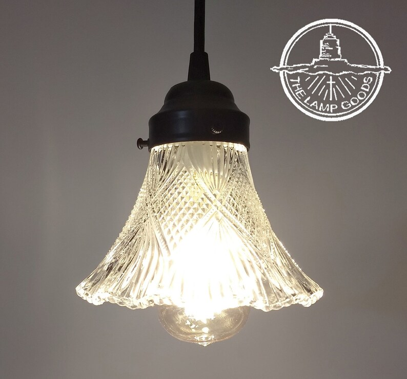 Antique Holophane Glass PENDANT Light Fixture -Chandelier Lighting Fixture  Kitchen Island Bathroom Flush Mount Modern Ceiling by LampGoods