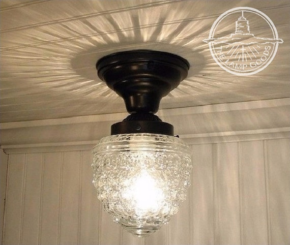 FLUSH Mount Ceiling Light ISLAND FALLS Glass - Chandelier Lighting Fixture  Pendant Globe Farmhouse Kitchen Hallway Bathroom by Lamp Goods