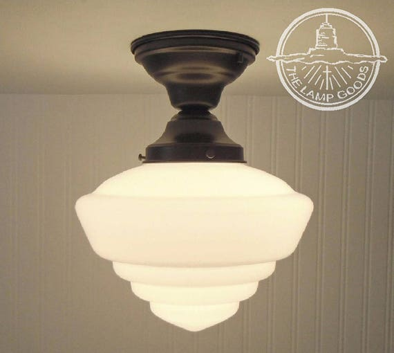 Windham. Milk Glass Schoolhouse CEILING LIGHT with Semi Flush Mount -  Modern Lighting Fixture Chandelier Lamp Kitchen Farmhouse LampGoods