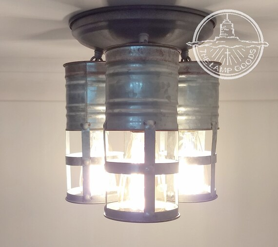Just Reduced Rustic Handmade 3 Bulb Hanging Light Fixture Or: Galvanized Farmhouse CEILING Light Trio With Edison Bulbs