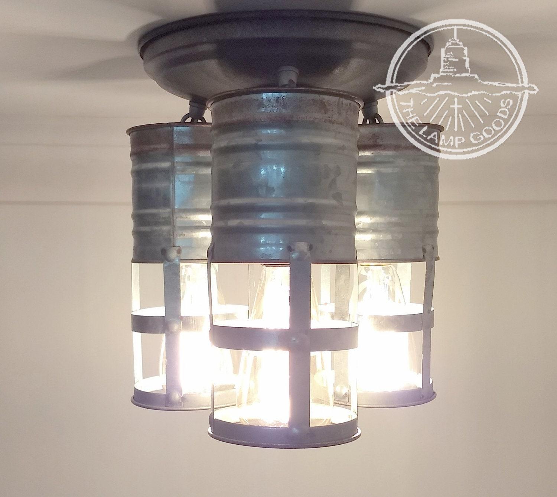 Galvanized Farmhouse CEILING Light Trio with Edison Bulbs   Etsy