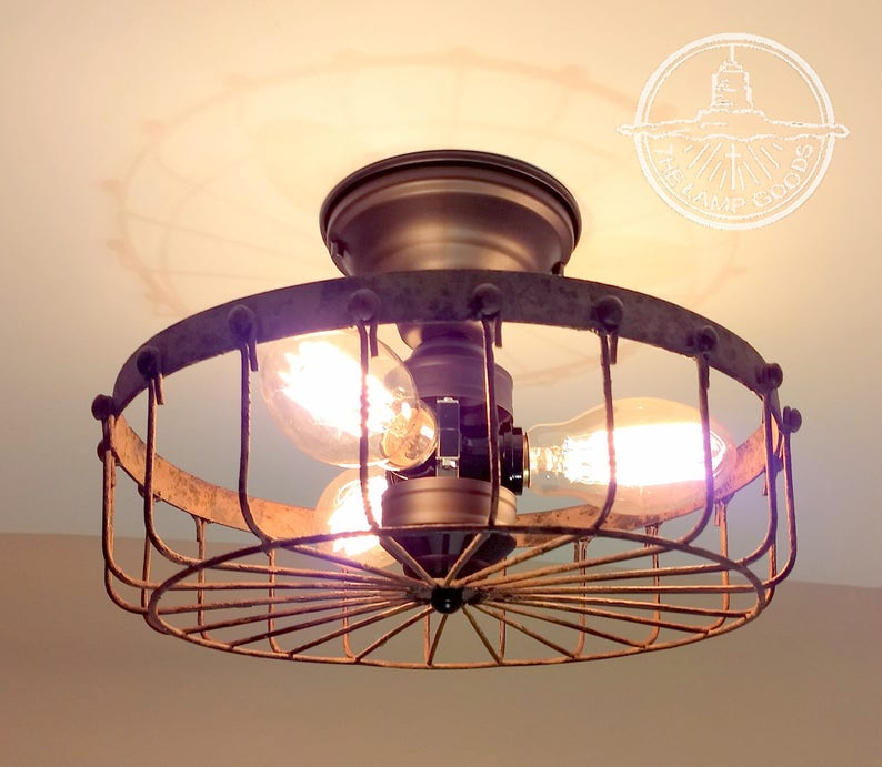Just Reduced Rustic Handmade 3 Bulb Hanging Light Fixture Or: Rustic INDUSTRIAL Flush Mount Cage Ceiling Light Lighting
