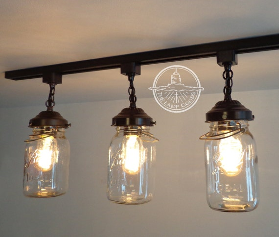 Flush Mount Ceiling Light Mason Jar TRACK LIGHTING Fixture