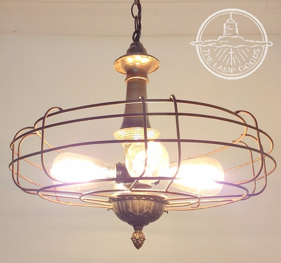 Vintage And Industrial Lighting From Etsy: INDUSTRIAL Light CHANDELIER With Iron & Vintage Glass