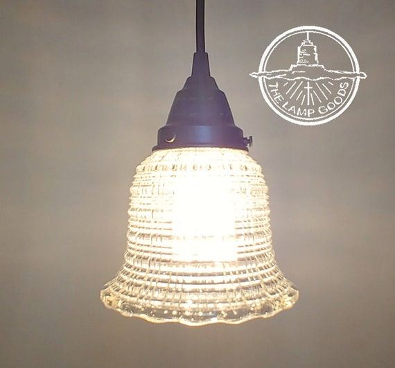 Vintage Clear Holophane Glass Pendant Light Chandelier Lighting Fixture Kitchen Island Modern Flush Mount Modern Ceiling By Lampgoods