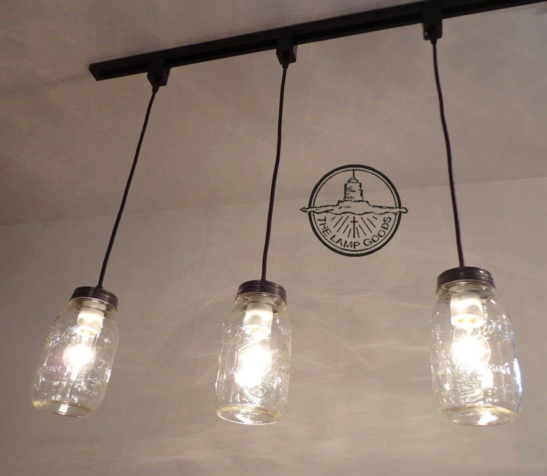 Mason Jar TRACK LIGHTING Pendant New Quart Trio Chandelier
