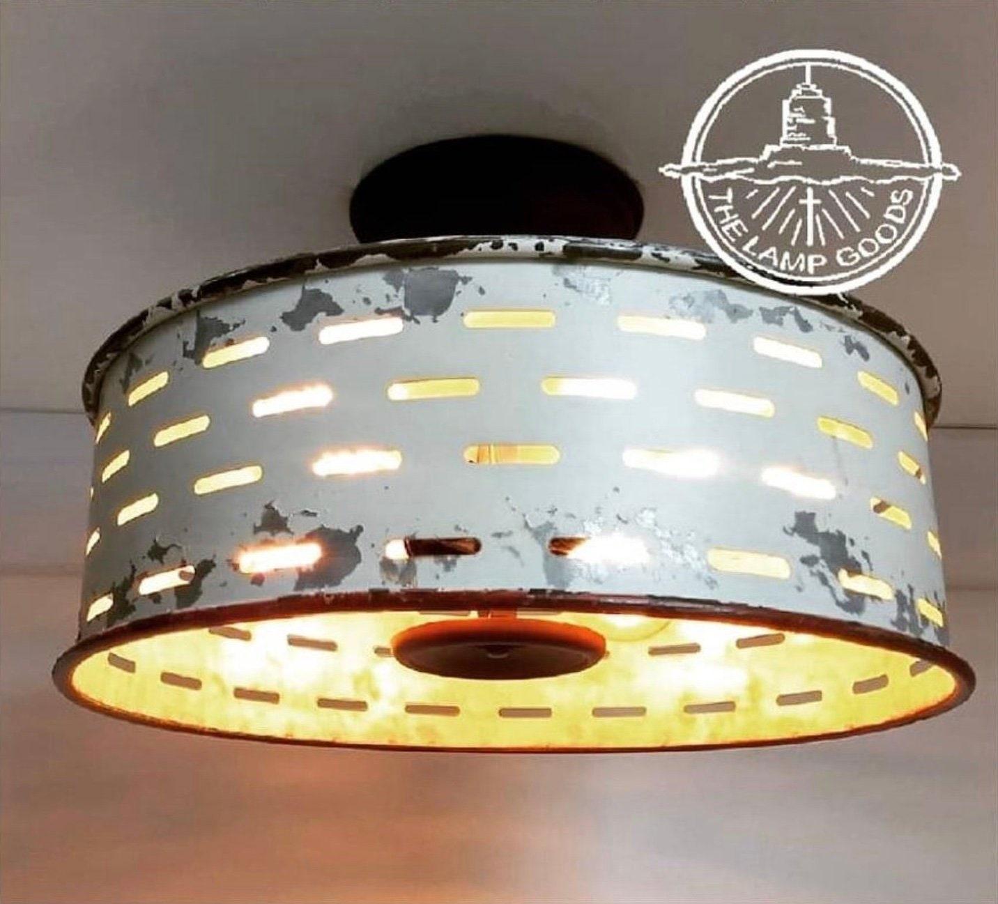 Funky Rustic Galvanized Pendant Light Via Etsy: Rustic Flush Mount Galvanized Ceiling Light Chippy White