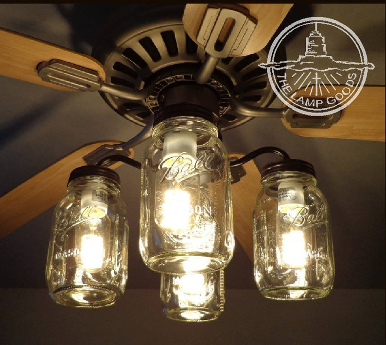 Mason Jar Ceiling Fan Light Kit Only With New Quarts Rustic Lighting Fixture Chandelier Flush Mount Pendant Farmhouse Kitchen By Lampgoods