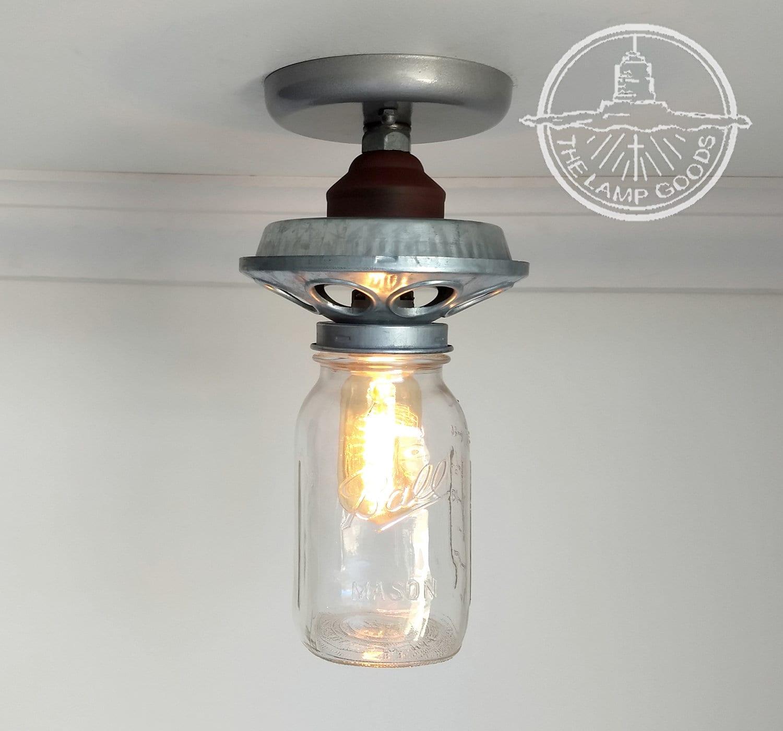 Galvanized METAL Chicken Feeder Mason Jar Ceiling Light   Etsy
