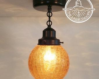 Antique Amber Crackle Glass Ceiling Light-Chandelier Ceiling Flush Mount Lighting Kitchen Island Fixture Farmhouse Lamp Hanging Track