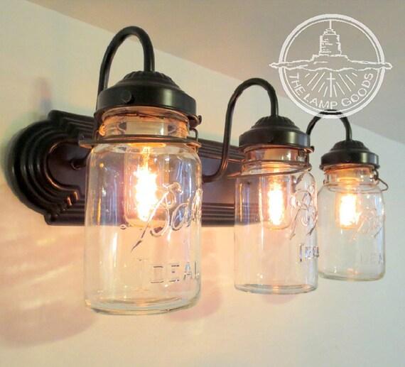Mason Jar Vanity Light: MASON JAR Wall Sconce Vintage Quart Trio Light Vanity Bathroom