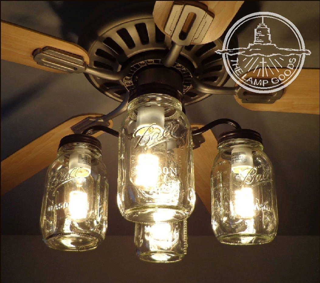 Flush Mount Ceiling Light Mason Jar Fan Light Kit Only