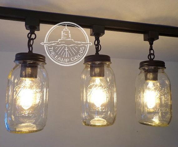 Mason jar track lighting trio new quarts flush mount ceiling etsy image 0 aloadofball Image collections