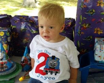 Boys Birthday Train Shirt,Thomas The Train Birthday Shirt,Baby Boys Thomas Train Birthday Shirt,Choo Choo Look Who's 2 Birthday Shirt