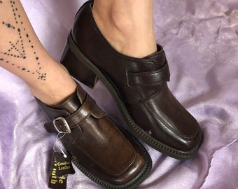 51335253b978 vintage 90s chunky heel loafers   block heel brown shoes   buckle loafer  shoes   leather moccasin loafer   slip on shoes