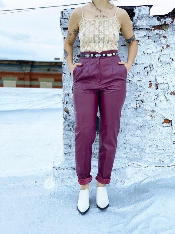 vintage 80s high waisted purple leather pants / le