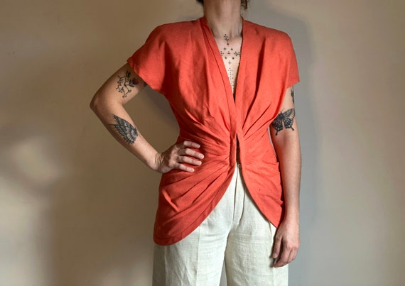 vintage coral ruched short sleeve top | gathered l