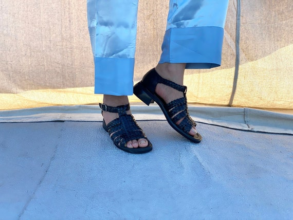 vintage 90s black woven strappy sandals / buckle s