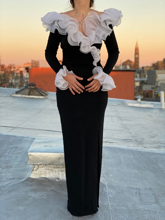 vintage 90s black evening gown bodycon maxi dress