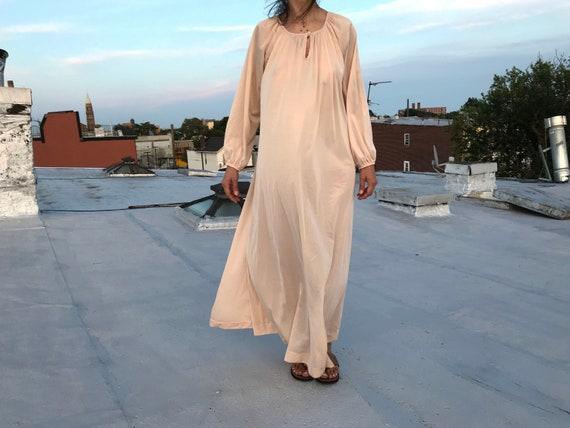 vintage 70s blush pink maxi slip dress / lingerie