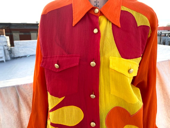 vintage 90s Moschino multicolor unisex button up /