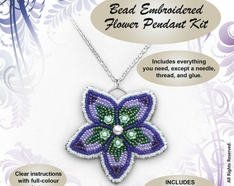 Bead Embroidered Flower Pendant BEAD KIT -  chain included -  Suitable for beginners!