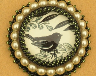 Bead Embroidered Brooch/Pin, with Glass Beads and Pearls