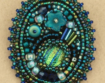 Bead Embroidered Brooch/Pin with Glass Beads -  Greens and Blues