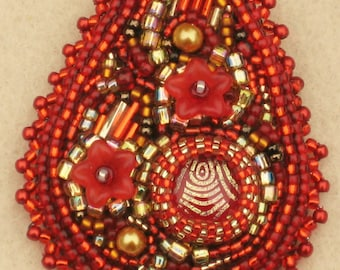 Bead Embroidered Brooch/Pin with Glass Beads -  Red and Gold