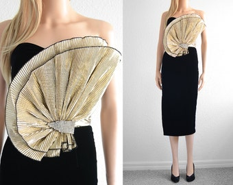 Velvet Bustier Dress Avant Garde Prom Dress Statement Dress Velvet Dress Party Dress Sweetheart Dress Womens Gold Black Bustier Dress xs