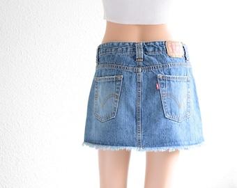 Levis High Waisted Skirt Vintage Levi High Waist Denim Mini Skirt 90s Clothing 90s Grunge denim Skirt Jean Skirt High Waisted Mini Skirt S