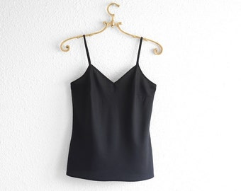 Black Slip Dress Tank Top Black Cami Top Black Camisole Spaghetti Strap Vintage Top Minimalist 90s clothing 90s grunge Silky Black Cami xs