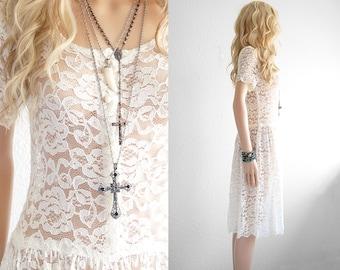 Lace Dress White Lace Dress Bohemian Wedding Dress Lace Wedding Dress Boho Wedding Dress 90s Grunge 90s Dress Vintage Long Lace Dress xs